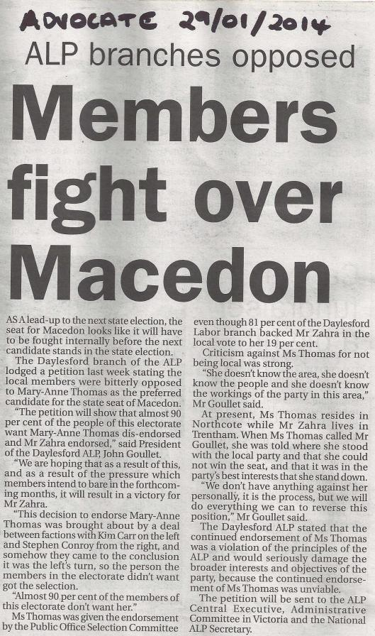 Labor's Macedon pre-selection outrage continues.
